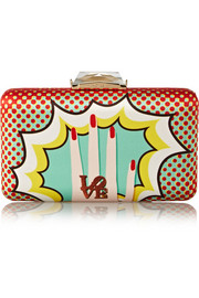 Espey Pop Art printed satin clutch