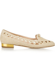 Charlotte Olympia Harvest woven raffia moccasins