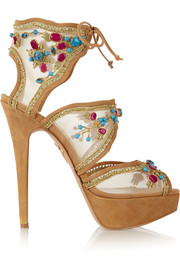 Arizona embellished mesh and suede sandals