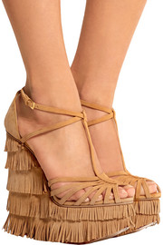 Winona fringed suede wedge sandals