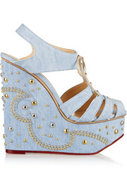 Gene embellished denim wedge sandals