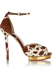 Charlotte Olympia Savannah printed calf hair sandals