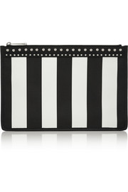 Zipped pouch in striped coated canvas