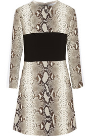 Carven Paneled snake-print crepe mini dress