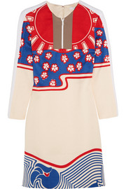 Carven Crepe-paneled printed cloqué mini dress