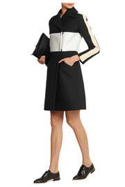 Carven Leather-paneled crepe coat