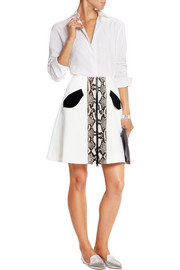 Carven Paneled stretch-crepe mini skirt