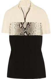 Carven Paneled stretch-crepe top