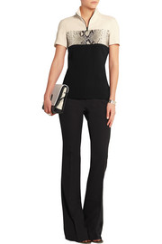 Paneled stretch-crepe top