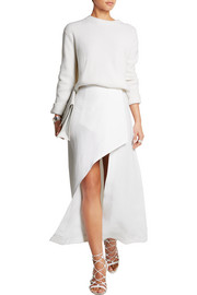 Asymmetric linen wrap skirt