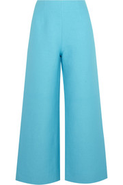 Linen and cotton-blend wide-leg pants