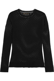 Versace Open-knit cotton and silk-blend top
