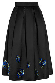 Sequin-embellished satin midi skirt