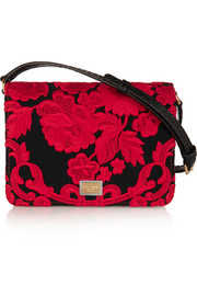 Ayers-paneled embroidered satin shoulder bag