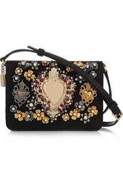 Embellished leather-trimmed jacquard shoulder bag