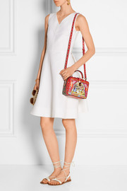 Printed textured-leather shoulder bag