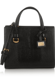 Lizard-effect leather shoulder bag