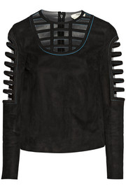 Caged cutout suede top