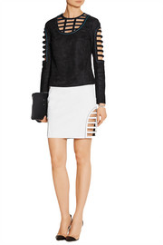 Caged cutout suede mini skirt