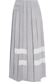 Pleated suede and silk-organza maxi skirt
