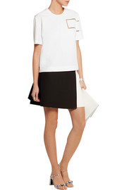 Fendi Tulle and leather-trimmed cotton-taffeta top