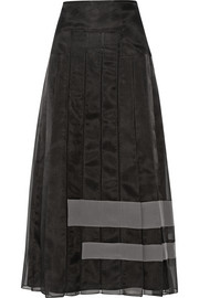 Fendi Crepe-paneled silk-organza maxi skirt