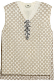 Embellished cutout PU and cashmere top