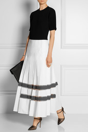 Mesh-paneled cotton-taffeta maxi skirt