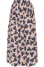 Romilly floral-print silk-crepe midi skirt