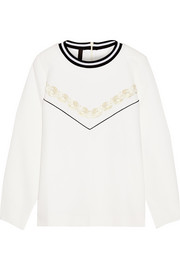 Perrin embellished waffle-knit cotton sweatshirt