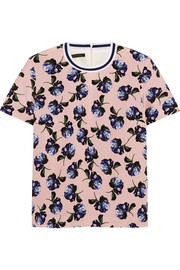 Paget floral-print silk-crepe top