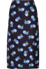 Baylis floral-print cotton-blend twill midi skirt