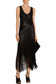 Fringed basketweave canvas maxi skirt