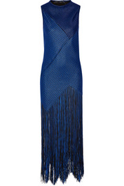 Fringed basketweave canvas maxi dress