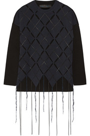 Fringed open-knit wool-blend sweater