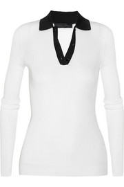 Proenza Schouler Ribbed-knit silk-blend polo top