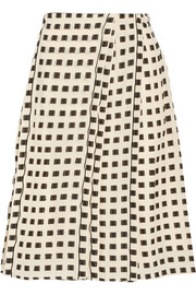 Pleated fil coupé skirt