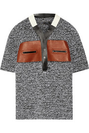Leather-trimmed crocheted polo shirt