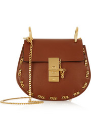 Drew small chain-trimmed leather shoulder bag