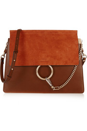 Faye medium suede and leather shoulder bag