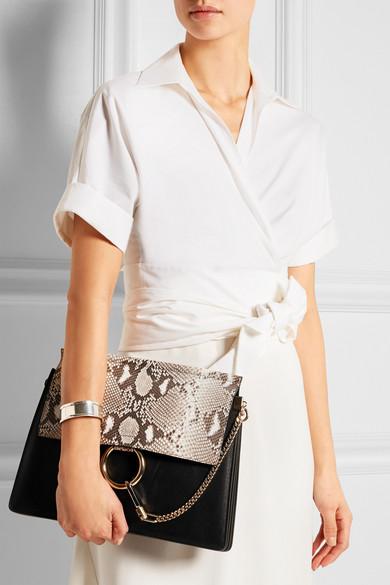 Chlo�� | Faye medium python and leather shoulder bag | NET-A-PORTER.COM