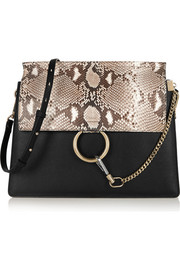 Faye medium python and leather shoulder bag