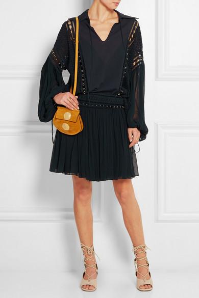 chlo faye mini suede shoulder bag net a porter com. Black Bedroom Furniture Sets. Home Design Ideas