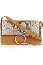 Faye small suede and python shoulder bag