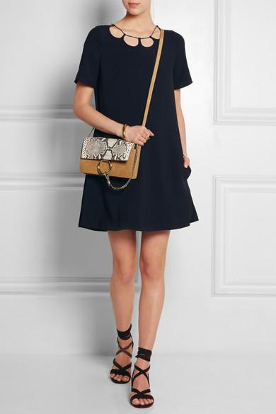 Chlo�� | Faye small suede and python shoulder bag | NET-A-PORTER.COM