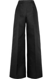 Scuba-satin wide-leg pants