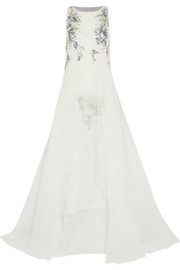 Crystal-embellished silk-organza gown