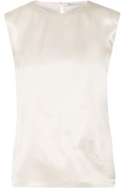 Wrap-effect silk-satin top