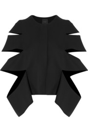Cutout wool-twill jacket
