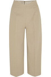 Cropped stretch-cotton piqué wide-leg pants